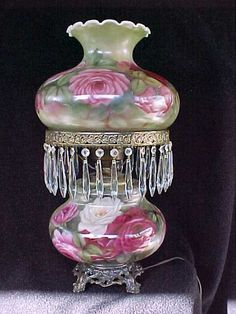 Victorian Oil Lamp with crystal prisms