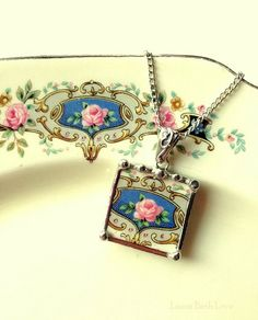 Broken china necklace pendant antique pink cabbage rose on blue broken china jewelry