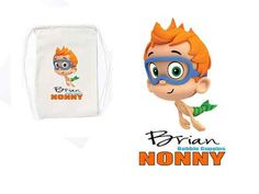 """Bubble Guppies """"Nonny"""" Personalize White Canvas Draw String Back Pack"""