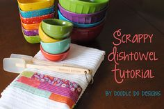 Scrappy Dishtowel Tutorial by doodledodesigns, via Flickr