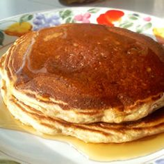 Grain and Nut Whole Wheat Pancakes Recipe - Allrecipes.com -double the egg and half the sugar.