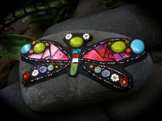 Mosaic Rock Butterfly.  Mixed media, glass, mosaic art, from Liz Tonkin at Mosaic Rocks.