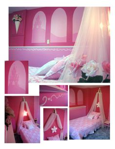 DIY Princess Themed Bedroom waaay too much pink, but cute idea