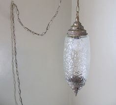 vintage clear glass gothic hanging swag lamp