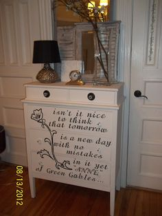 Anne of Green Gables dresser...LOVE it!  Shared at the Knick of Time Tuesday Vintage Style party.