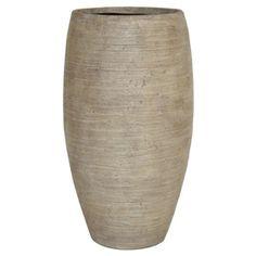 $49.97 - 21-in H x 12-1/4-in W x 12-1/4-in D Sand Fiberglass Indoor/Outdoor Vase