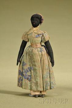 Cloth doll, 19th century.