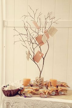 Bridal Shower Ideas - cute tree for notes and sugar scrub favors