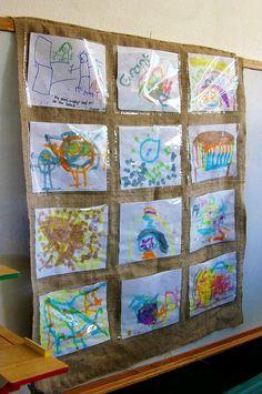 displaying child's artwork