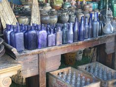 Vintage Purple bottle collection glasses, color, cobalt blue, flea markets, bottl collect, blue bottl, purpl bottl, blues, old bottles