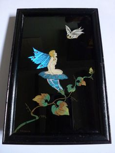 Lovely 1930s Art Deco Butterfly Wing Picture Nude Naked Fairy