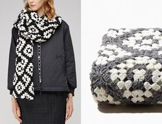 How to crochet a granny-square scarf