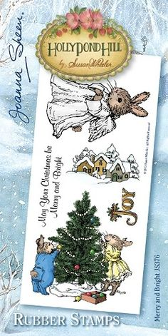 Holly Pond Hill Christmas Rubber Stamps - Merry and Bright JS376