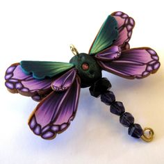 *POLYMER CLAY & BEADS ~ Dragonfly Pin/Brooch.