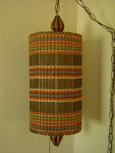 Hippie Boho Vintage Hanging Swag Lamp Brown Rattan Color Woven Retro Mid Century Lighting Love Shack.