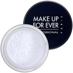 Magic white powder. Erases pores and makes skin look like a porcelain doll. Final step to set makeup. A little goes a long way.