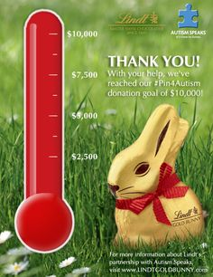 Lindt would like to extend a heartfelt THANK YOU to all who participated in our #Pin4Autism initiative here on Pinterest.  We reached our goal of $10,000!  With the power of Pinterest and a passion for the Autism cause, YOU made a difference this Easter season.  Again, thank you!