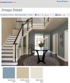 Benjamin Moore Interior Paint Colors   Burnett 1-800-PAINTING talks color flow with Benjamin Moore (I've been thinking about a variety of using similar colors in the LR, entry, and kitchen...after seeing this, it could work!)
