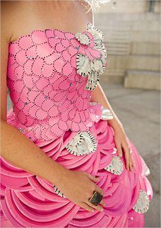 wedding dressses, pink wedding dresses, abc party, paper dresses, pink weddings, bridal shower dresses, paper crafts, paper plates, bridal showers