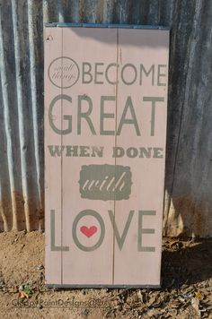 Large Distressed Wood Word LOVE Sign by ChippyPaintDesigns on Etsy, $125.00