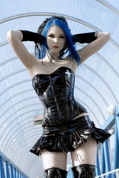 #Erotic Latex and blue haired #Cybergoth