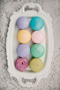 Easter egg colored macarons