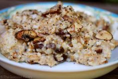 Ingredients:  1/2 cup chopped red onion 4 crimini mushrooms – sliced 1 cup cooked oatmeal 1 tablespoon parmesan – grated Olive oil – preferably in an oil sprayer/mister (1/2 tablespoon approximately)