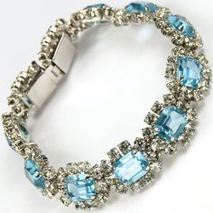 Christian Dior by Henkel and Grosse Diamante and Aquamarine Link Bracelet