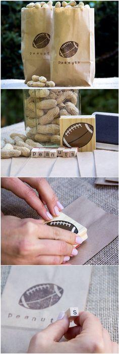 Football Stamped Peanut Bag/ Moonfrye DIY/ Superbowl Crafts/ Stamp Crafts/ Superbowl Party Ideas