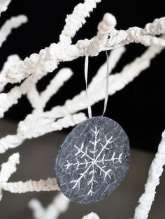 Felt-and-Thread Snowflake - 10 Easy-to-Make Holiday Tree Ornaments on HGTV