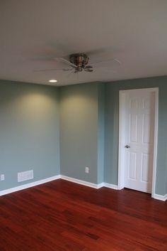 Smokey Slate walls by Behr. A complete basement remodel in Atlanta.