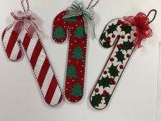 needlepoint candy cane ornaments