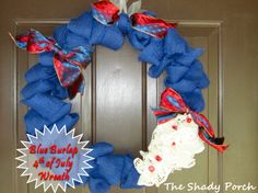 Red, White & Blue Burlap Wreath - Paper Doily flowers and wired ribbon bows. #wreath #burlap #decorations