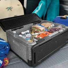 Flip Box - keeps food cold for 6 hours without ice.  Keeps food warm without heat packs.  Lightweight, yet super durable. Box can be taken apart and washed in the dishwasher.