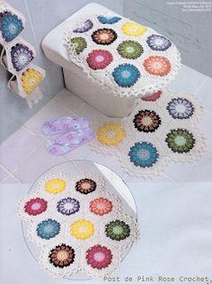 \ PINK ROSE CROCHET /: Tapetes para Banheiro Gerbera - Crochê baths, pink roses, bathroom crochet, hooks, bathroom hook, bathrooms, baño, patron crochet, crochet patterns