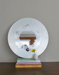 diy doily etched mirror
