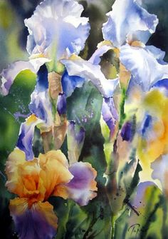 Watercolor of Irises by Jean Claude Papeix
