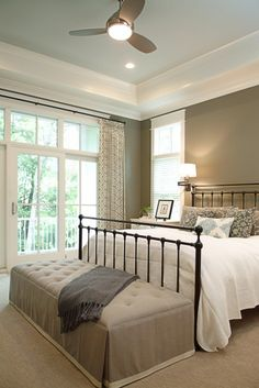 wrought-iron bed like ours; love the upholstered bench at the end of bed to contrast harsh iron guest room, bedroom idea, wall color, window treatments, window wall