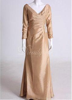 Elegant full length Taffeta sheath V-neck red tone Mother of the Bride Dress in Fashion Design