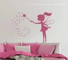 My youngest just mite LOVE this! :) Its really so cute!     Vinyl Fairy Wall Decal by lisamingersoll on Etsy, $23.00
