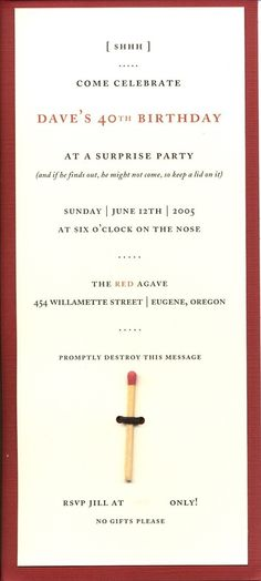 Great party invite idea / surprise party / matchstick / spy party / mystery