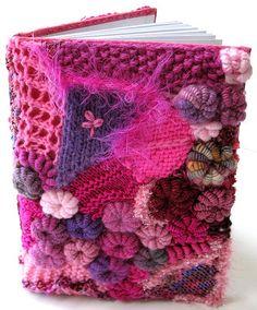 Freeform crochet notebook cover.