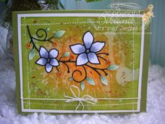 """by  Bibiana: Inlay and """"Faux Stitching"""" with paint Techiques with the NEW Vignette Floral Branch die from Memory Box details at the blogs"""