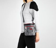 Hello Kitty Shoulder Pouch: Graphite Jacquard