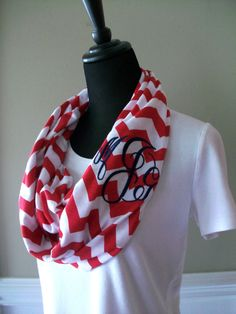 Monogrammed chevron infinity scarf, custom monogram or greek letters, red and white knit jersey