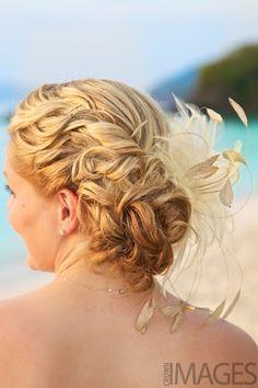 beach wedding hair - easy, & keeps it away from wind
