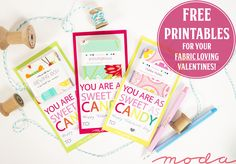 Sweet as Candy Quilter Valentines using Moda Candy! Get the Free Printables!