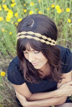 Double Natalie - Gold and Rhinestone Beaded Tie Headband #handmade #headband