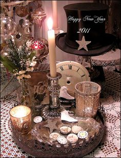 year vignett, clock faces, inspir idea, top hats, year eve