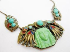 Antique Deco Czech Max Neiger Egyptian Revival Jade Pharaoh Filigree  Necklace
